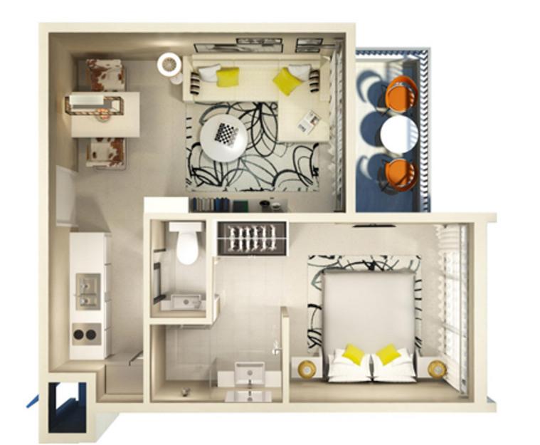 Plan 1 bedroom
